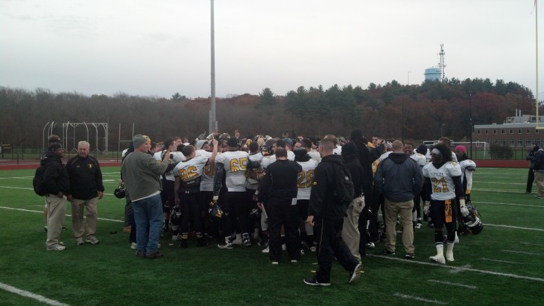 Framingham State celebrated a conference title on Saturday by defeating Bridgewater State. (Photo Credit: Brian Willwerth)