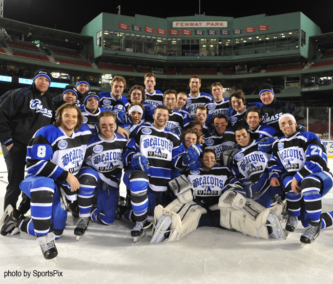 UMass Boston's men's ice hockey team defeated Salem State at Frozen Fenway this afternoon, 4-2. (Photo Credit: UMass Boston)