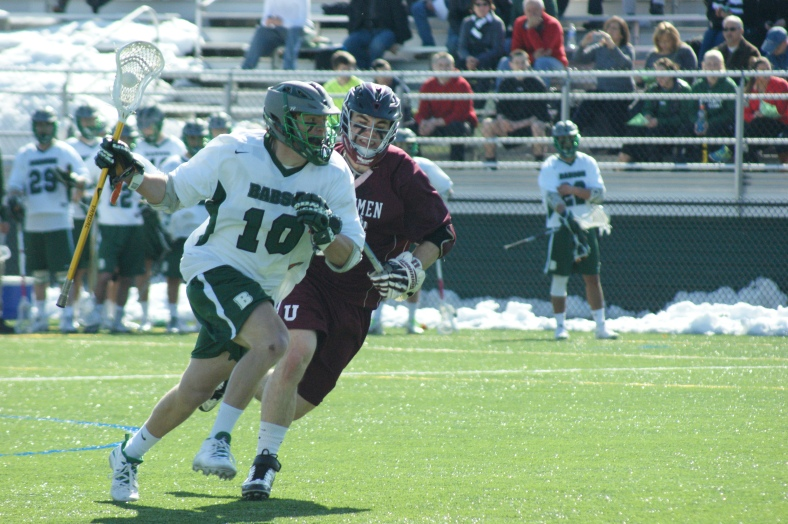 Babson's Brendan Coan recorded one of two first quarter goals for the Beavers. (Photo Credit: Matt Noonan for NoontimeSports.com)