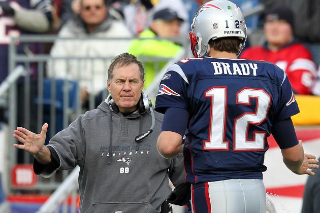 New England Patriots head coach Bill Belichick (left) and quarter Tom Brady (right) will look to capture their fourth Super Bowl on Sunday. (Photo Credit: Bleacher Report)