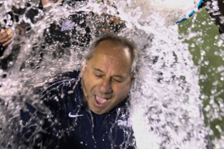 Brandeis University men's soccer head coach Mike Coven claimed his 500th victory on the sidelines last Saturday when he his team defeated Babson College in double-overtime. (Photo Credit: Jim Pierce/Sportspix.com)