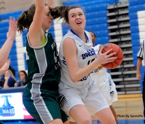 UMass Boston's Olivia Murphy has recorded five consecutive double-doubles this season. (Photo Credit: UMass Boston Athletics)
