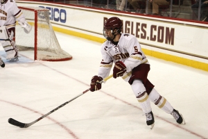 Boston College freshman Casey Fitzgerald netted the quickest goal in the last 10 years of the Beanpot as the Eagles beat Harvard in Monday's semifinal. (Photo Credit: BCHeights.com)
