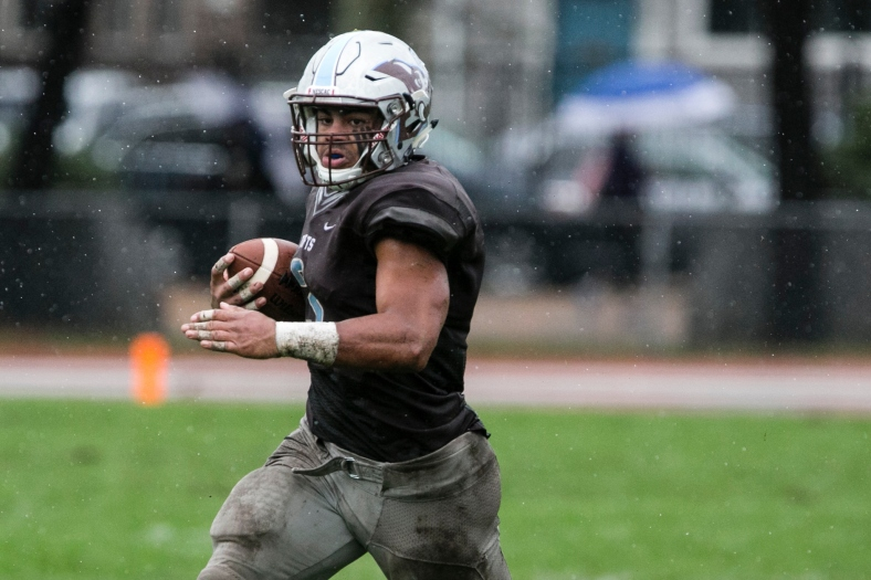 Tufts senior tailback Chance Brady etched his name into the program's record last weekend when he bumped his career touchdown total to 25 scores. (PHOTO CREDIT: Alonso Nichols / Tufts)