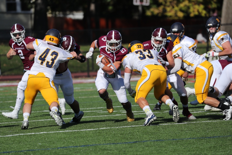 Springfield College fullback Jordan Wilcox rushed for a career-high 174 yards and four touchdowns last week against Rochester. (Photo Credit: Springfield College Athletics)